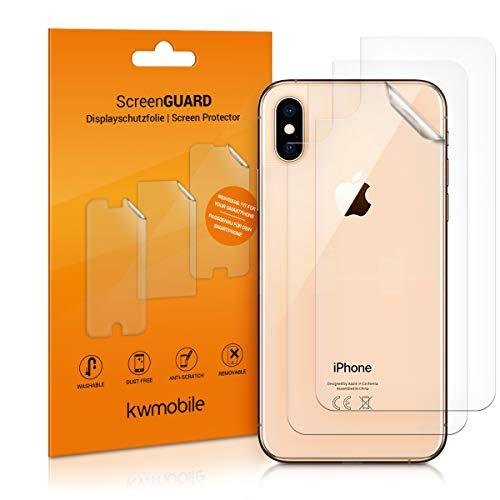 kwmobile 3X Schutzfolie Rückseite kompatibel mit Apple iPhone XS