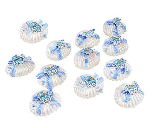 QILICZ 12 stück Muschel Geschenk Box Gastgeschenke Taufe Baby-Süßigkeit Baby Shell Candy Box Junge mit Mini Dekoschnuller für Jungen Shower Babydusche Party Taufe Geschenkpaket Babyparty