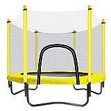 Trampoline avec éCran De Protection - Trampoline IntéRieur Ou ExtéRieur pour Enfants - Mini Trampoline - Jaune - Limite Maximale De 150 Kg