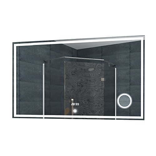 Lux-aqua badkamerspiegel wandspiegel lichtspiegel LED klok make-up spiegel TOUCH schakelaar 100 x 60 cm - LMC1060A