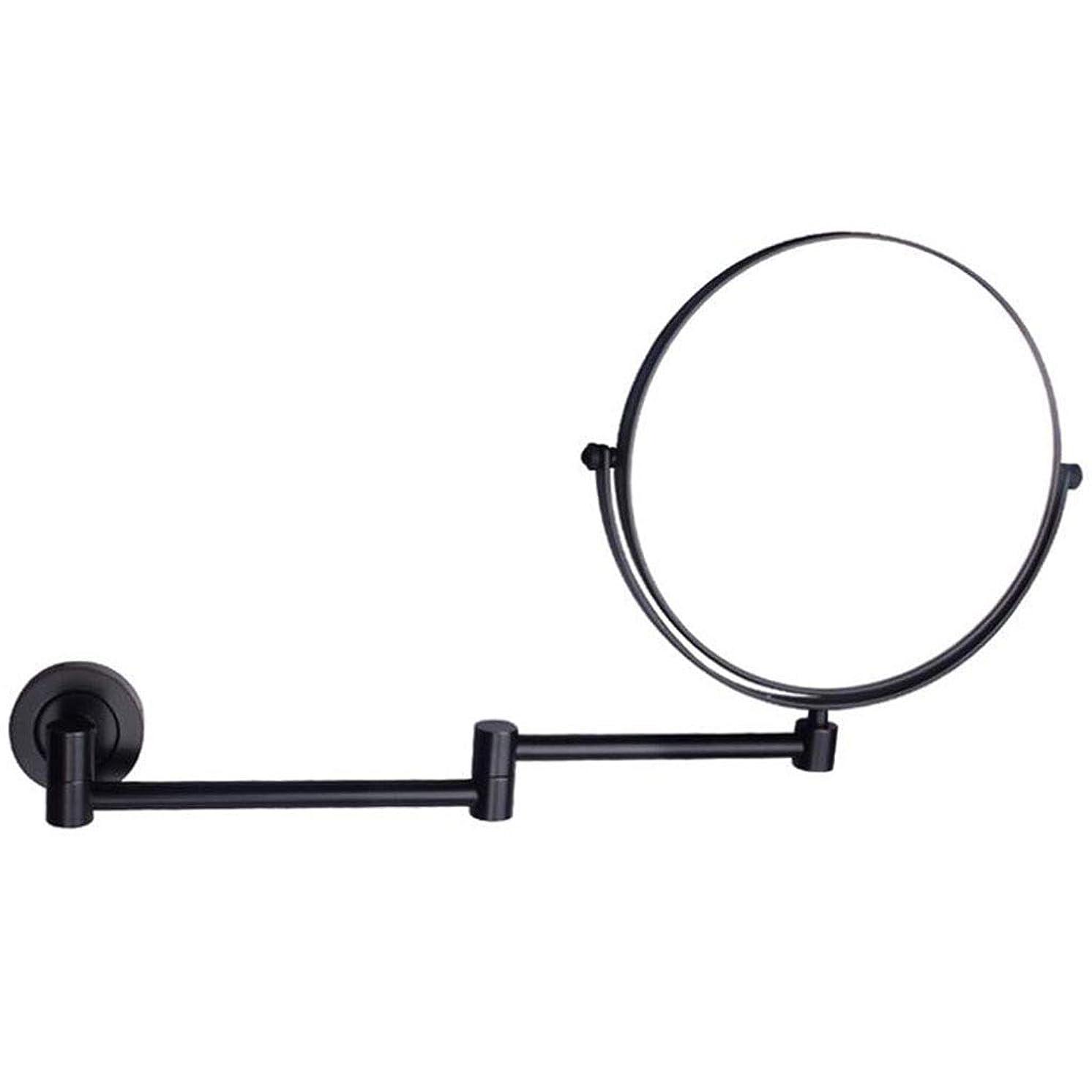 保護シャーロックホームズ彼らのものHUYYA シェービングミラー 壁付、バスルームメイクアップミラー 3 倍拡大鏡 360度回転 バニティミラー 両面 化粧鏡 丸め 寝室や浴室に適しています,Black_8inch