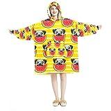 Decke Hoodie, Casual Soft Microfiber Hausmantel Warm Nachthemd für Männer Frauen mit Cute Mops Wassermelone Muster Designs