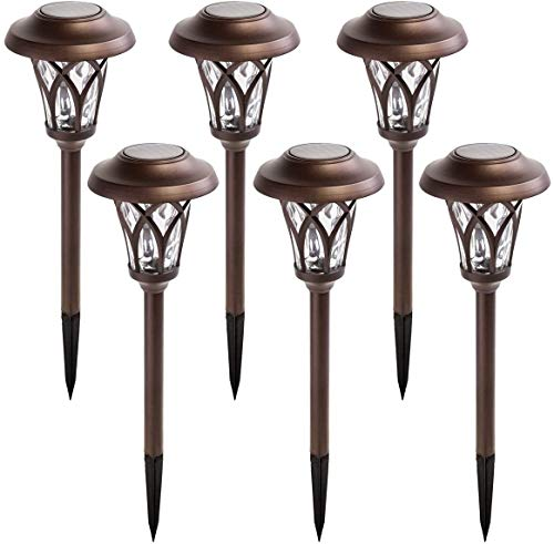 GIGALUMI Solar Pathway Lights Outdoor, 6 Pcs Super Bright High Lumen Solar Powered LED Garden Lights for Lawn, Patio, Yard.