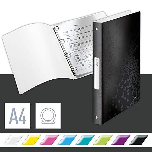 Leitz WOW Ringbuch für bis zu 190 Blatt, A4, 25 mm Rückenbreite, 4 D-Ring Mechanik, Schwarz, Kunststoff, WOW, 42580095