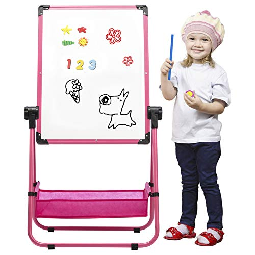 Marble Field 24'' x 18'' Magnetic U-Stand Whiteboard/Kids Flip Chart Easel, Double Sides Whiteboard & Chalkboard Standing White Board, Height Adjustable & 360°Rotating with Bonus Storage Box(Pink)