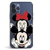 Funda para iPhone 12-12 Pro Oficial de Clásicos Disney Mickey y Minnie asomado para Proteger tu móvil. Carcasa para Apple con Licencia Oficial de Disney.