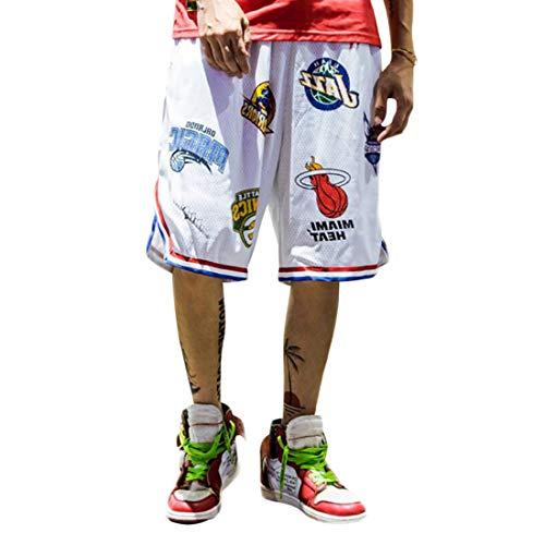 Pantalones Verano Cortos de Baloncesto Hombres, Camiseta Deportiva Transpirable en Malla Moda Callejera para Adolescentes, Shorts Secado Rápido Correr Trotar,Blanco-L