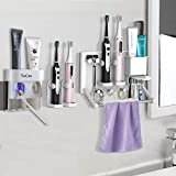 TuCao Dual Zahnpastaspender mit Mehrzweck-Zahnbürstenhalter Wandhalterung, eingebauter elektrischer Zahnbürste und Rasierhalter Handtuchhalter für Badezimmerarbeitsplatte und Waschtisch