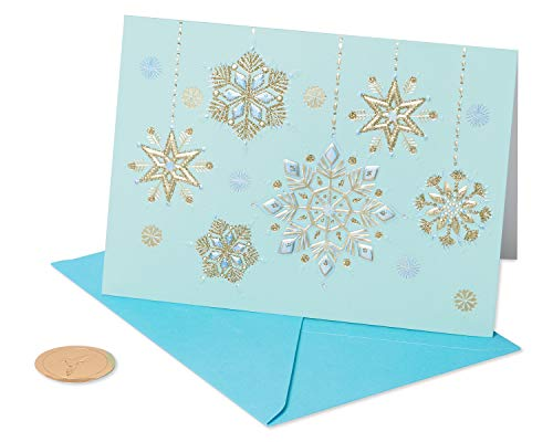 Papyrus 5495666 Holiday Cards Boxed, Hanging Glitter Snowflakes (12-Count)