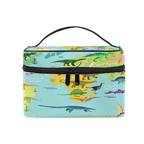 World Map Colorful Dinosaure Animal Cosmétique Voyage Sac de Maquillage Organisateur pour Femme Fille Trousse de Toilette Portable Stockage Cosmetic P