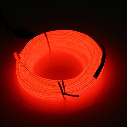 JIGUOOR 10M EL Draht EL Kabel Neon Licht Beleuchtung Wiederaufladbar für Party Halloween Kostüm Weihnachten Dekoration mit 3 Modis (rot)