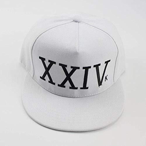 NSWZX® de Bruno Mars 24K Magic Gorras K-Pop Hat, Gorra de béisbol Ajustable Hip Hop Hat, Snapback Sun Caps para Hombres Mujeres-Blanco