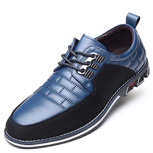 COSIDRAM Men Casual Shoes Luxury Comfortable Loafers Driving Flats Sneakers Shoes for Male Fashion Black Brown Leather Lace-up Business Work Office Dress Blue 13