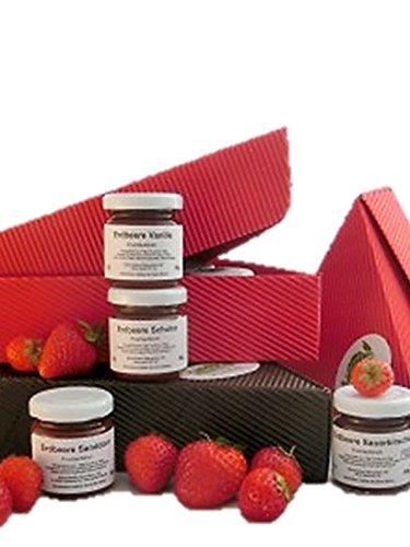 Erdbeer-Marmeladen- 15er Paket - 15x50 - 60g verschiedene Sorten von preisgekrönter Manufaktur | gut als Geschenk Frühstück, zum Brunch, Weihnachtsfrühstück, Silvester Frühstück,Frühstück Marmeladen, Gourmet Marmelade, besondere Marmeladen,