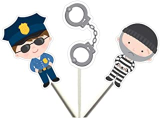 Crafty Cue Cops and Robbers Cupcake Toppers, Cops and Robbers Cake Toppers, Cops and Robbers Birthday Party