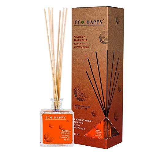 ECO HAPPY Ambientador Mikado Fragancia a Canela y Naranja. 95ml. Combinación de Aromas cítricos y especiados. para Hogar, Oficina o Negocio.