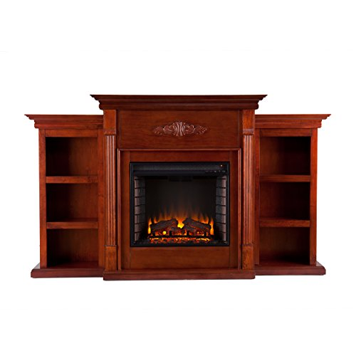 SEI Furniture Southern Enterprises Tennyson Electric Fireplace with Bookcase, Classic Mahogany Finish