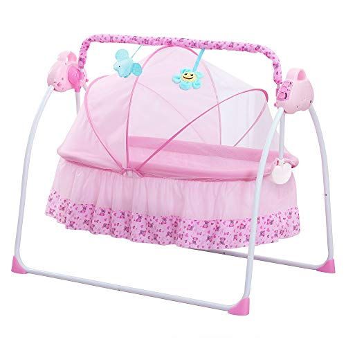 SANPLO Cuna Eléctrica Bebé Columpio Cama Automática Infanti Mecedora Multifunción (Rosa)