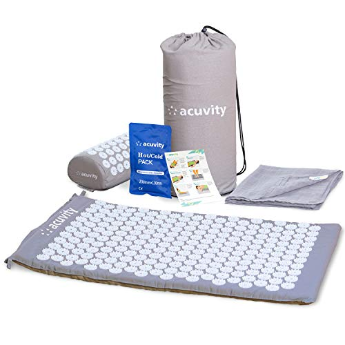 Acuvity Acupressure Mat and Pillow Set for Pain Relief- Spike Massage Mat for Stress Relief- Acupuncture Mat for Relaxation - Bed Of Nails Set with Hot/Cold Pack, Cotton Sheet Cover & Carry Bag (grey)