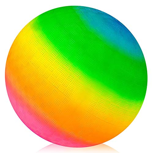 ArtCreativity Rainbow Playground Ball for Kids, Bouncy 16 Inch Rubber Kick Ball for Backyard, Park and Beach Outdoor Fun, Beautiful Rainbow Colors, Durable Outside Play Toys for Boys and Girls