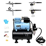 TUFFIOM Airbrush Compressor Kit w/ 3L Tank, 4 Airbrushes, Airbrush Holder & 6ft Hose, Airbrushing Painting System w/Regulator & Cooling Fan for Model Painting/Cake Decoration/Nail Art/Tattoo
