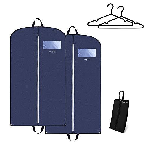 Legona® 2X Stabiler Kleidersack inkl. Nylon Schuhtasche/Langlebige Anzugtasche für Kleider, Anzug & Jacken/Atmungsaktiver Business Reise Anzugsack [110 x 60 cm] Blau