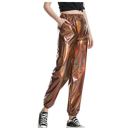 Casual Sports Street Hip-Hop Party Shiny Magic Color Pantalones Hologram Laser Pantalones Sueltos