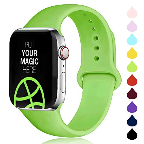 DCMEKA Cinturino Compatibile con Apple Watch 38mm 42mm 40mm 44mm, Cinturini Sportiva in Morbido Silicone di Ricambio per Apple Watch Series 5/4/3/2/1, S/M, M/L