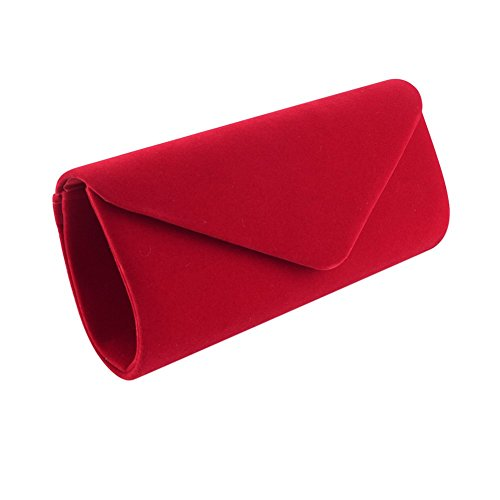 clorislove - Cartera de mano de terciopelo para mujer Rojo rosso Small