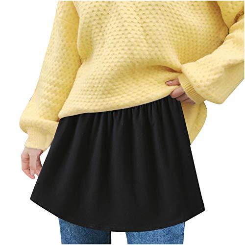 XI-BO Verstellbarer Minirock, Hemdverlängerung, mehrlagiges gefälschtes Oberteil, halber Slip, Splitts-Saum für Frauen und Mädchen Gr. XXX-Large, Schwarz - 02