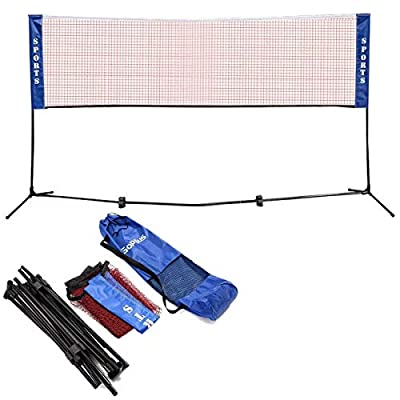 GYMAX 10' x 5' Portable Badminton Net 2.5' to 5' Adjustable Height Beach Tennis Volleyball Net for Competition Training, with Carring Bag