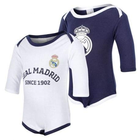 PACK 2 BODYS BEBÉ REAL MADRID TALLA 1 MES