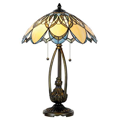 Lumilamp 5LL-5320 Tischleuchte Tischlampe Art Deco Tiffany Stil Blauw/Natur Ø 40 * 60 cm 2x E27 max 60w. handgefertigt glasschirm