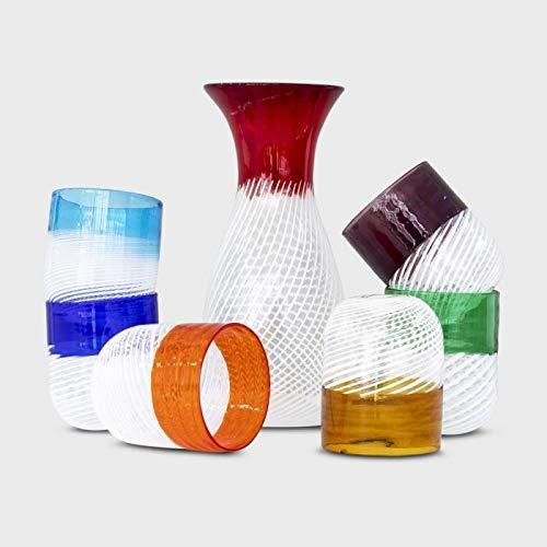 Set Bicchieri Filigrana in Vetro di Murano (6+Caraffa)