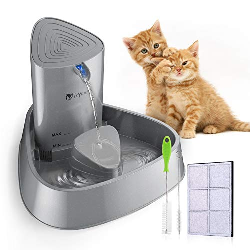 isYoung Cat Fountain LED Pet Water Fountain Ultra Quiet Automatic Pet Water...