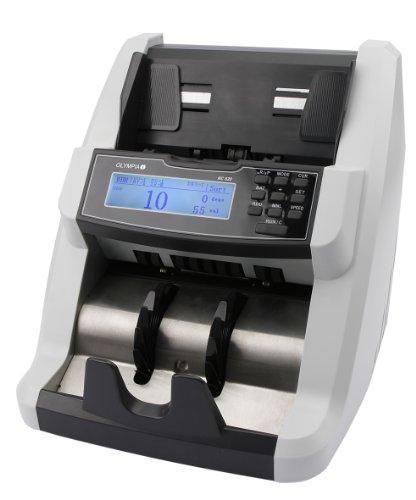 Olympia NC 620 Geldzähler (für Scheine, Echtheitsprüfung, Additionsfunktion, LCD-Display, Geldzähl-Maschine für Euro, Dollar, Pfund, Profi Geldscheinzähler mit Falschgelderkennung)