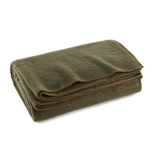 "EverOne Olive Drab 80% Wool Fire Retardant Blanket - 66"" X 90"""