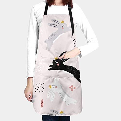 N\A Delantales de Conejos saltadores con Corona para Mujer, Delantal de Cocina Impermeable para cocinar, Hornear, con 2 Bolsillos y Cuello Ajustable y Lazos Largos