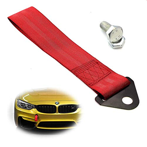 iJDMTOY Sports Red Appearance Racing Style Nylon Tow Strap Universal Fit Compatible with Front or Rear Bumper