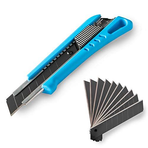 NAROT Cuttermesser inkl. 13 Profi Klingen - Teppichmesser mit Magazin und gummiertem Griff | Profi Cutter 18mm (Blau)