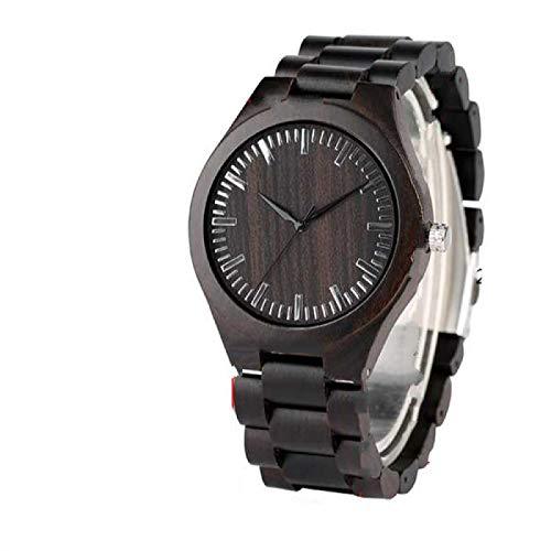 Relojes de Madera Retro para Hombre, Reloj de Pulsera de Cuarzo para Hombre con Banda Natural Completa de Madera de ébano Claro Informal para Hombre