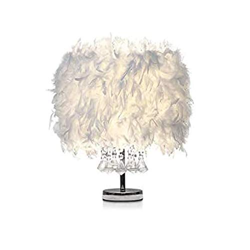 CHENMAO Lámpara de mesa de plumas Blanco Creativo Dormitorio moderno Lámpara de noche Bola de cristal Iluminación decorativa for la sala de estar de la princesa Sala de estar