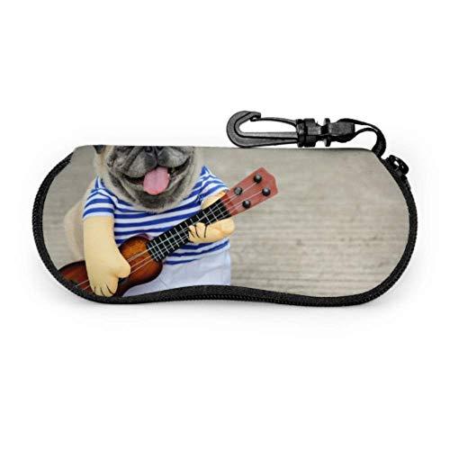 Estuche de gafas con mosquetón Indy Músico Guitarrista Pug Perro Divertido Pug...
