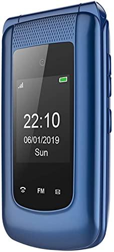Uleway GSM Seniorenhandy Klapphandy ohne Vertrag,Großtasten Mobiltelefon Einfach & Tasten Notruffunktion,Dual-SIM 2.4 Zoll Bildschirm Handy für Senioren (Blau)