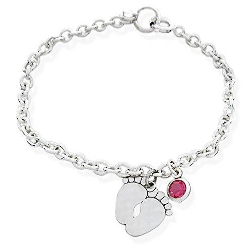 Braccialetto in argento massiccio 925/1000 con ciondolo a forma di baby piedini e cristallo rosa o azzurro. Regalo nascita (Cristallo rosa)