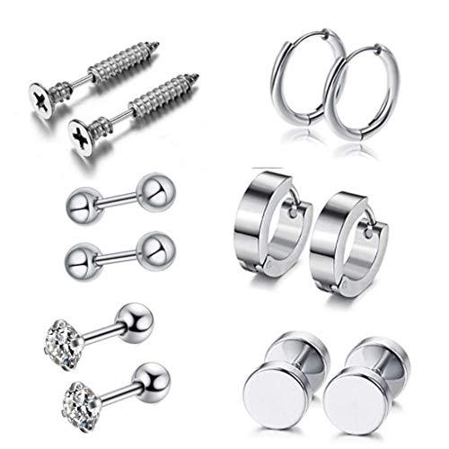Leiouser 12 unids/set pendientes unisex de acero inoxidable pendientes de perforación con barra de tornillo pendiente para mujeres hombres decoración de joyería