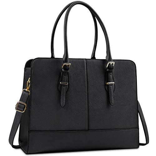 Lubardy Laptop Bags for Women 15.6 inch Ladies Leather Laptop Handbag Work Handbags Womens Tote Bag Office Black