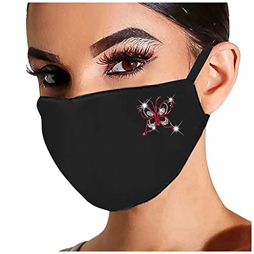 UNKN Adult Women Reusable Outdoor Fashion Sequin/Rhinestone Breathable Fashion Ice Cotton Windproof Soft Skin-Friendly Washable Resuable Face Turban