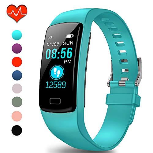Polywell Fitness-Tracker, Aktivitätstracker mit Herzfrequenz-Monitor und Schlaf-Monitor, Bluetooth, wasserdicht, Schrittzähler und Kalorienzähler (Hell Blau-111)