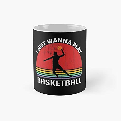 I Just Wanna Play Basketball - Taza clásica con diseño de atardecer retro para los amantes de la marca I Just Wanna Play